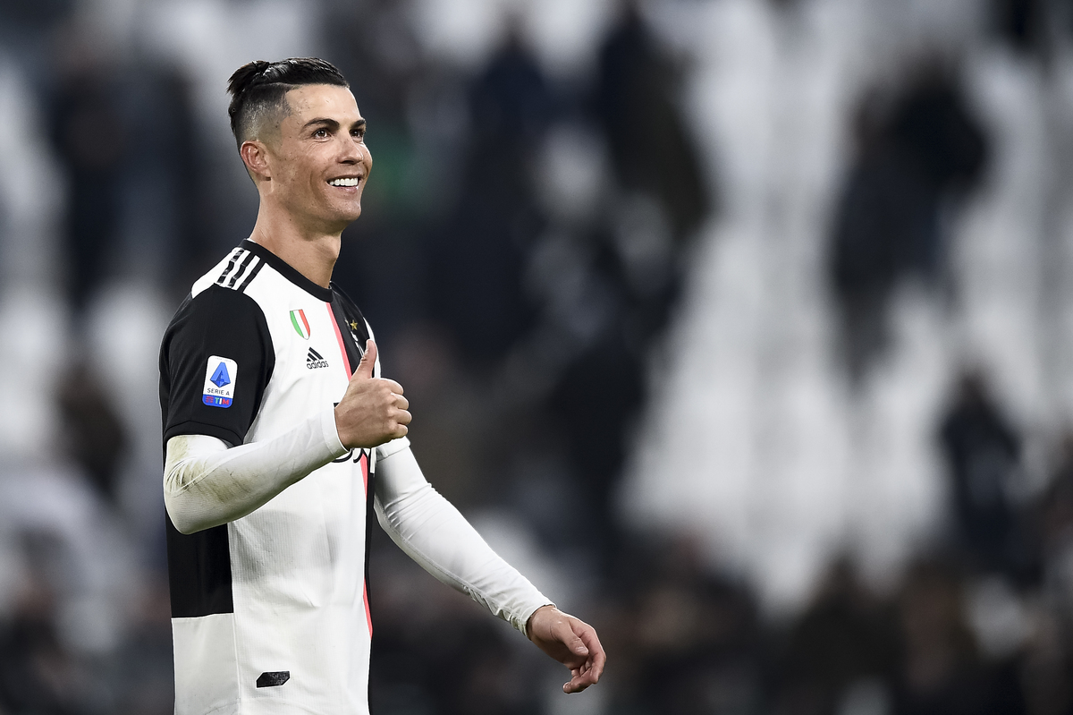 Cristiano Ronaldo of Juventus FC celebrates the victory at...