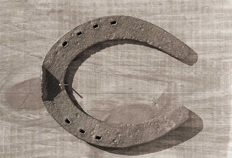 Horseshoe nailed to wall
