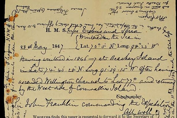 letter found on the hms terror