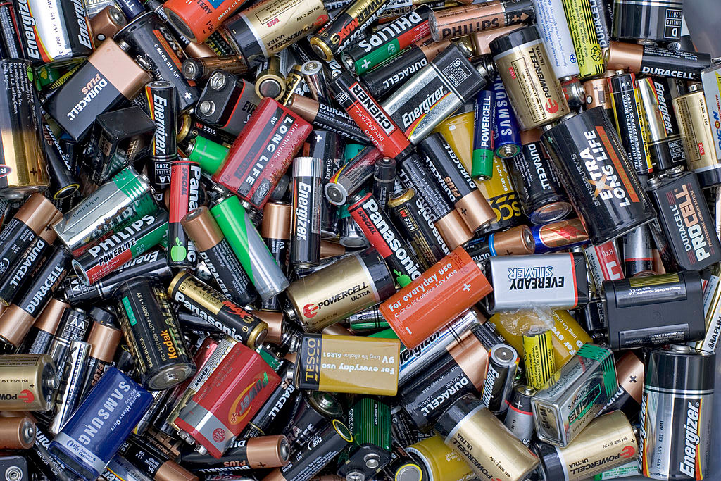 drawer of old batteries
