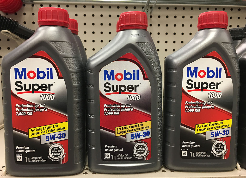 Mobil Super motor oil bottles
