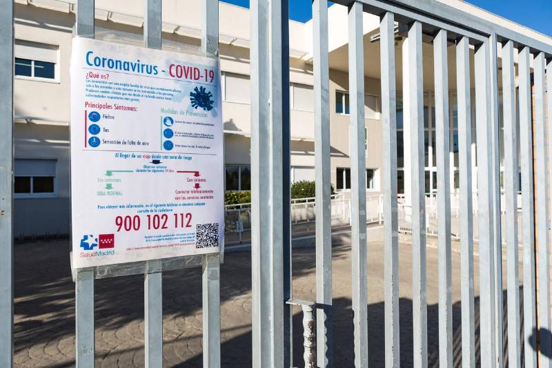 A school in Spain is closed because of COVID-19.