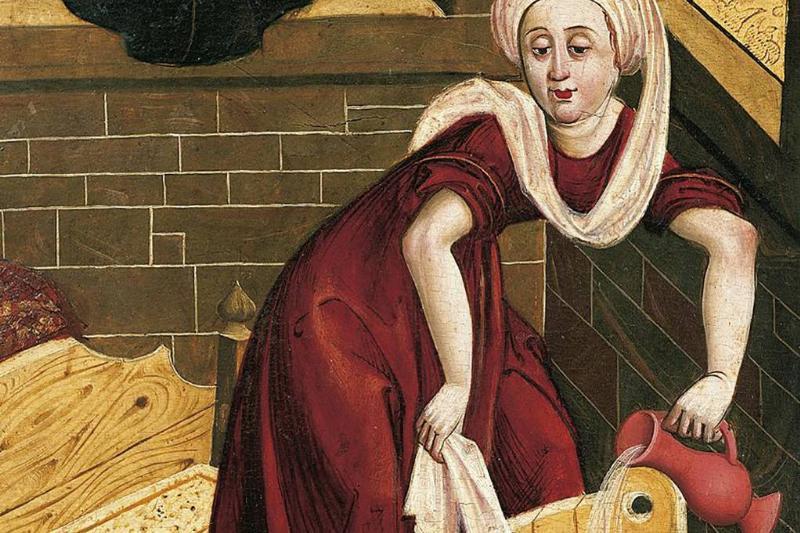 Woman making a bath