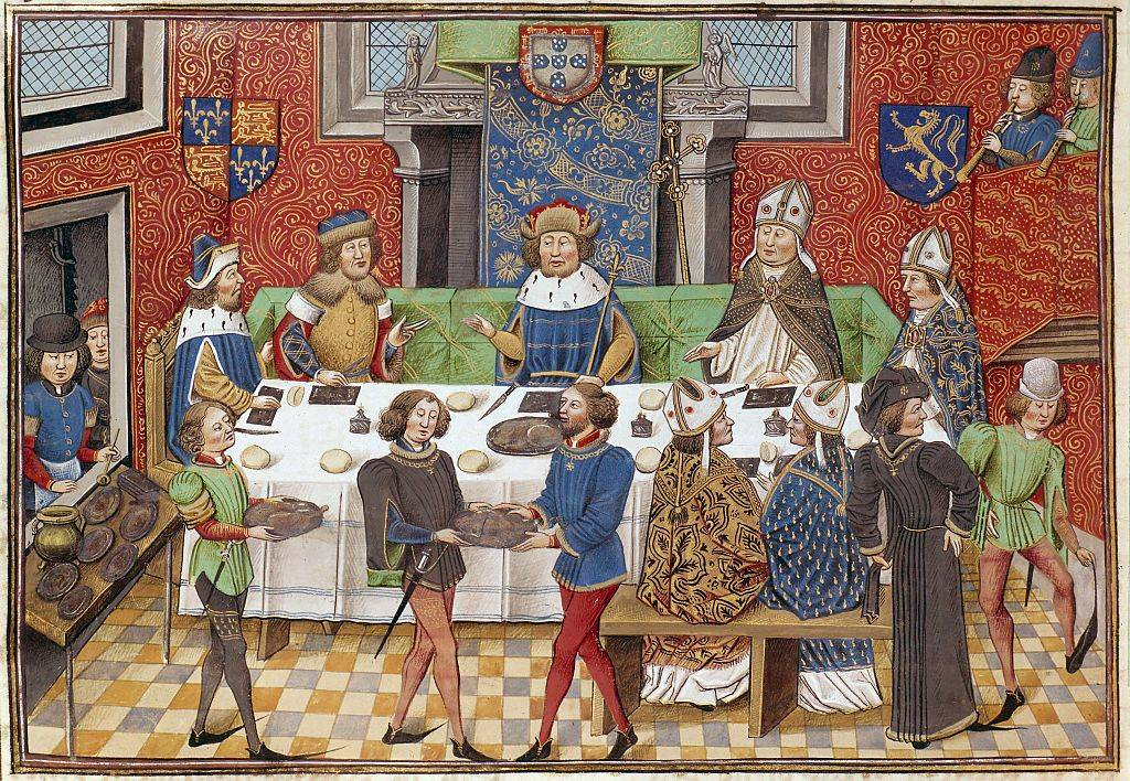 Medieval picture of a feast