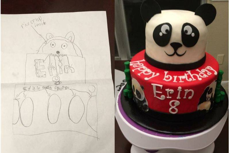 someone made a panda cake based on a drawing