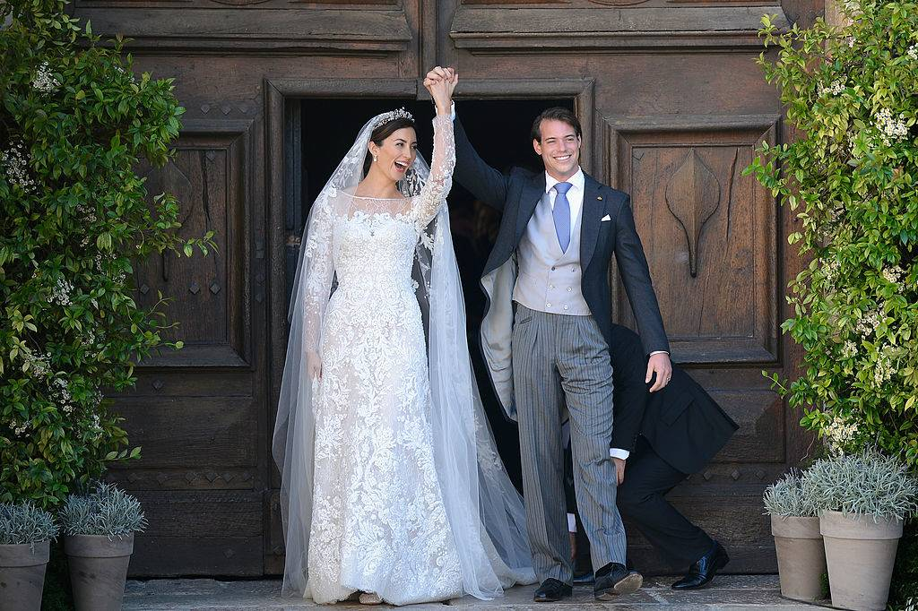 Princess Claire Of Luxembourg and Prince Felix Of Luxembourg depart from their wedding ceremony