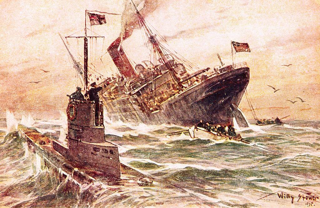 Painting of WWI sea battle