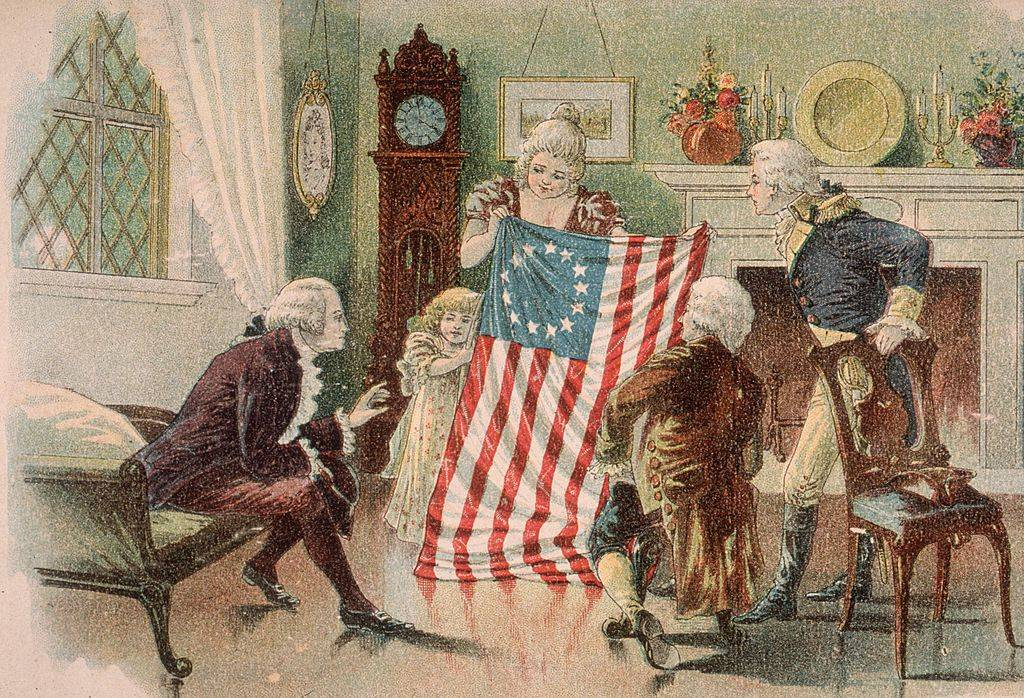 Betsy Ross showing off the flag