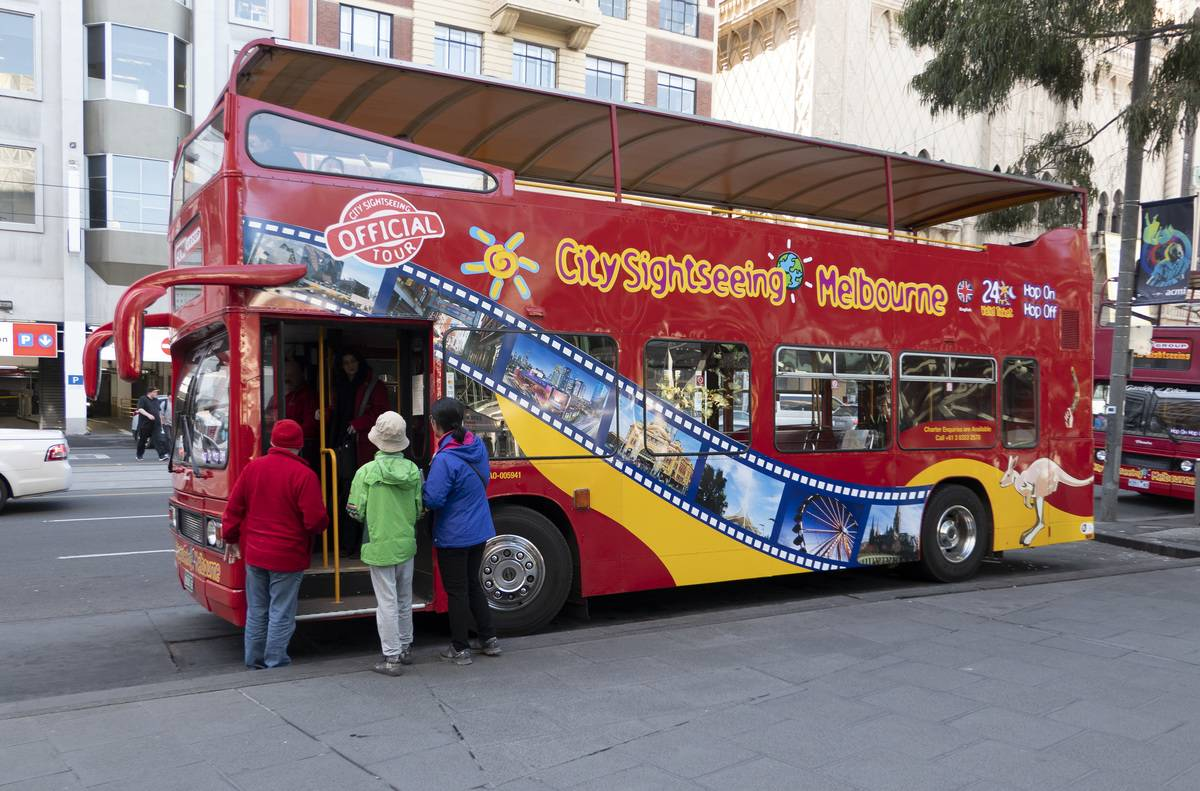 City sightseeing red double decker bus Melbourne Australia