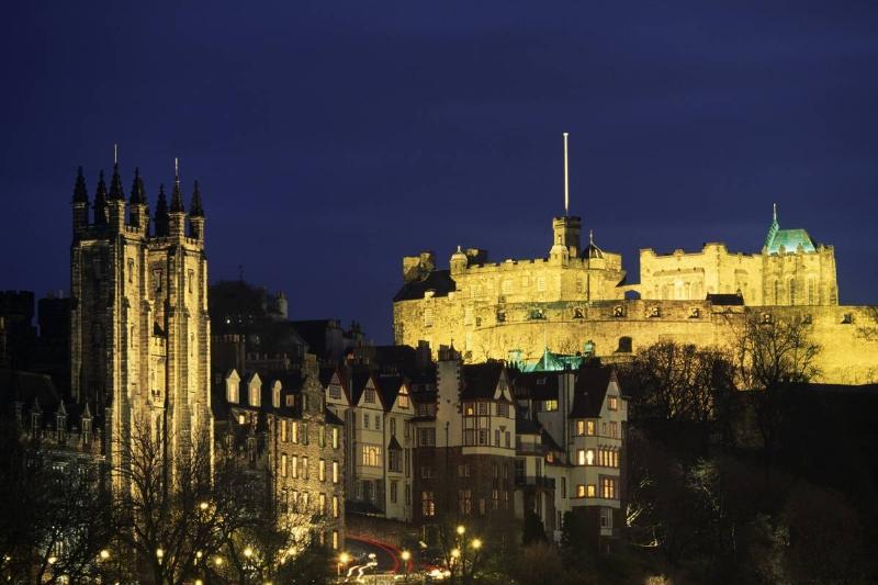 View of Edinburgh Castle, at night, Edinburgh