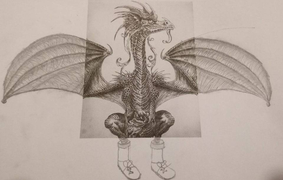 daughter's homework was to draw wings and feet of dragon, she drew boots